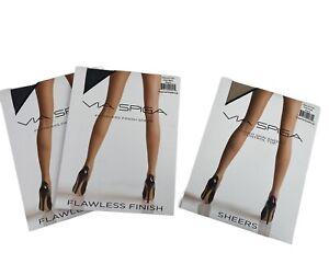 Lot 3 VIA SPIGA Flawless Finish Control Top & Sheers Pantyhose Size B Black Nude