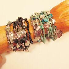Set-2 Handmade Seed Bead Faux Silver Charm Shell Chip Elastic/Stretch Bracelets