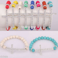 Women's Fashion Turquoise&Crystal Beads Sideway Crystal Cross Elastic Bracelet