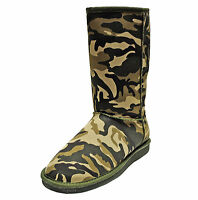 New women's shoes mid shaft boot faux fur lining suede like winter camouflage