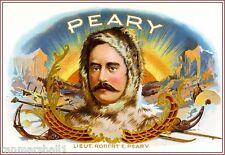 1909 Robert E. Peary Smoke Vintage Cigar Tobacco Box Crate Label Art Print