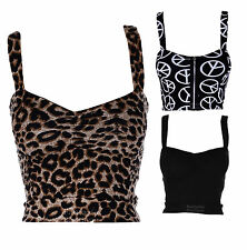 New Womens Peace Black Leopard Printed Strappy Bralet Ladies Crop Top 8-14
