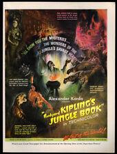 1942 Vintage Print Ad 40's RUDYARD KIPLING'S JUNGLE BOOK movie release art image