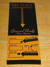 1930s Bookmark Concord Books, Times Square, New York, The Place