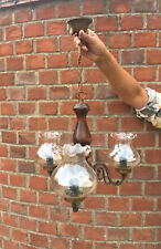 Large Vintage French Solid Wood 3 Arm Chandelier Ceiling Light Lamp Glass Shade