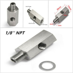1/8'' NPT Oil Pressure Sensor Tee to NPT Adapter Fitting Turbo Feed Line Gauge