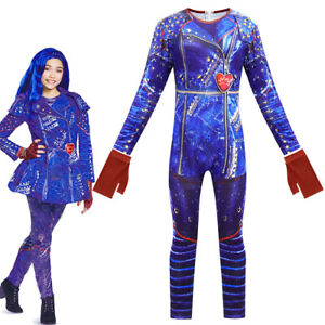 Descendants 3 Evie Costume Kids Halloween Cosplay Jumpsuits+Gloves Fancy Outfit