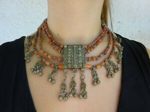 An  Antique Yemeni Coral & Silver 4 Row Necklace Middle East Orient Charm