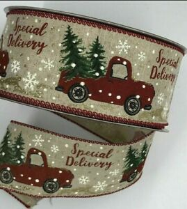 """Rustic Red Truck Special Delivery Premium Wired Christmas Ribbon 2.5"""" X 10 Yards"""