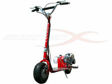 GO FAST 49CC GAS RACE SCOOTER motor CHROME Engine 2-stroke ScooterX Dirt Dog Red