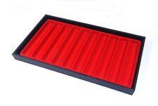4 Black Wood Jewelry Tray Pen Tray Part Tray Pocket Knife Tray 10 Slot Red Liner