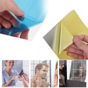 16Pcs Self Adhesive Mirror Tiles Bathroom Wall Sticker Stick on 0.1/mm Decor DIY