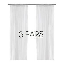 3 IKEA WHITE PAIR LONG NET CURTAINS LACE BLIND CURTAIN LILL 280 x 250cm