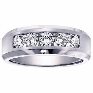 1.00 CT Channel Set Diamond Mens Wedding Ring in Platinum NEW!