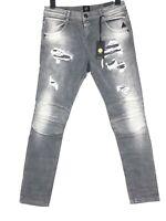 ELIAS RUMELIS Damen Jeans Hose Stretch Slim Fit Destroyed W30 L30 Grau NEU