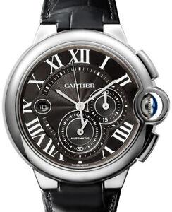 Cartier Ballon Bleu Chrono XL 44mm SS Black Dial Watch Box/Paper W6920010 3109