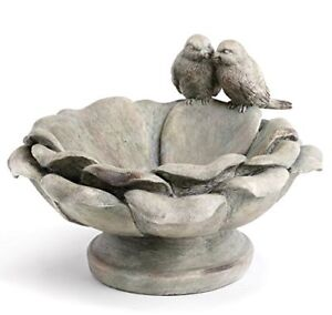 "Birds Perched Patina Grey 9x6"" Resin Decorative Indoor Outdoor Garden Bird Bath"