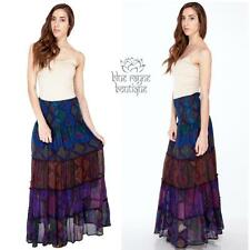 BoHo Comfy Cotton Patchwork Gypsy Layered Skirt Dress Combo One Size Fits Most