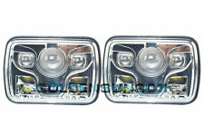 "2x 7x6"" Cree LED Projector Headlight Sealed Beam Replacement DOT Approved Chrome"