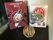 MG classic car brass badge with great quality hardback books
