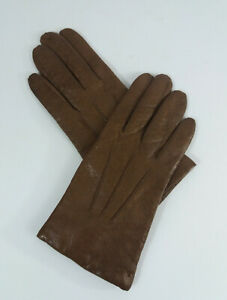 Vintage Women's Leather Brown Driving Gloves Retro Made in Italy Size 7