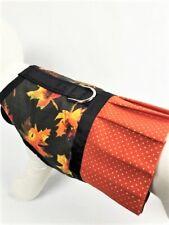 Fall Glitter Leaf Dog Harness Vest Dress With Ruffle Skirt