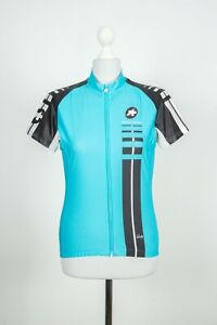 Ladies Assos Cycling Full Zip Blue/Black Jersey Size L