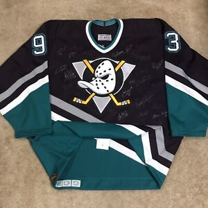 Team Signed CCM Authentic Anaheim Mighty Ducks 1993 Inaugural Season Jersey 52