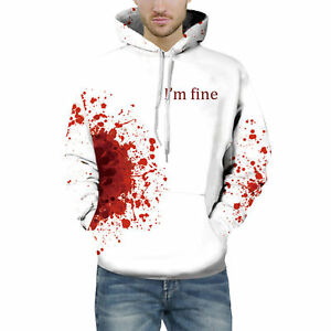 Men Bloody I'm fine Casual White Hipster Couples Sweatshirt Hoodie Pullover Tops