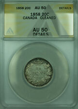 1858 Canada 20 Twenty Cents Silver Coin ANACS AU-50 Details Cleaned (WB1)