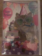Girl cat birthday card