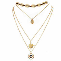 Multi-layered Women's Shell Chain Evil eye Choker Boho Fashion Necklace 4Pcs/Set
