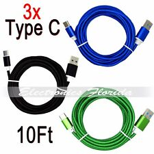 Lot 3x 10FT Nylon Braided USB-Type-C 3.1 Data Sync Charger Charging Cable Cord@P