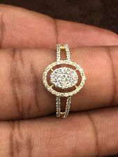 Pave 0.54 Cts Natural Diamonds Engagement Ring In Fine Certified 14K Yellow Gold