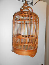Chinese handmade wood bamboo bird hanging cage  birdcage