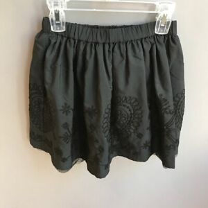 LANDS' END Embroidery Skirt Black Girls' Small 7/8 Party Recital  NWT ADORABLE