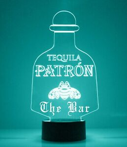 Patron Tequila LED Light Up Sign, w/Remote Control, Engraved Bar/Mancave Lamp