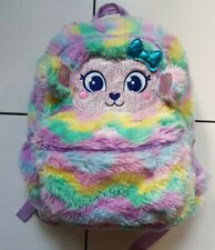 Smiggle - rainbow coloured furry-  backpack