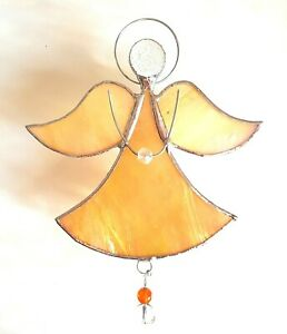 Gold Guardian Angel stained glass hanging sunshine house warming suncatcher gift