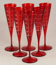 Cut Crystal Champagne Flutes Deep Red Glassware Elegant Collectible Set of 6