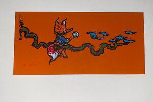 Marq Spusta Fox Art Print Mini Micro New Silkscreen Orange Rubber Paper! UV Inks