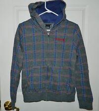 HURLEY juniors teen Gray Blue Red Hoodie Sweatshirt* M Medium