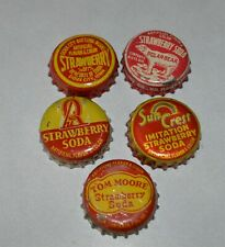 5 Different Strawberry Cork backed pop bottle caps