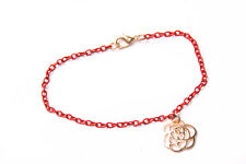 Stylish Skinny Red Chain Ladies Bracelet w Gold Colour Metal Flower Detail(T423)