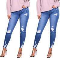 Women Ripped Frayed Jeans Jegging Stretchy Skinny Denim Pants Trousers Plus Size