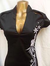 Último Diseño Oriental Chino Vestido de Plata Negro 14