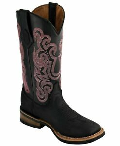 Ferrini 85093-04 Women's Maverick Black Rubber Sole S-Toe Cowhide Western Boots