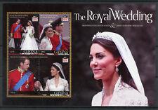 Guyana Royalty Stamps 2011 MNH Royal Wedding Prince William & Kate 4v M/S I