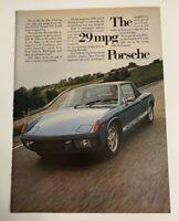 1974 Porsche 914 2.0 Mid-Engine Coupe 29 MPG Print Ad