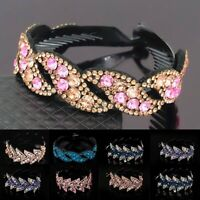 Womens Crystal Rhinestone Hair Clips Claw Clamp Bun Net Ponytail Holder Headwear